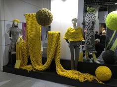 Trends used in Window Display Colour Trend - Freesia Yellow Colour is used through out the installation all props made of yarn, gives the window great texture while showing off the colour located at the International trade fair for handicraft and hobby