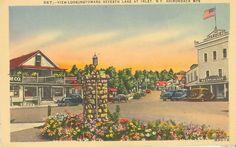 Vintage New York Linen Postcard Adirondack Looking Toward Seventh Lake at Inlet