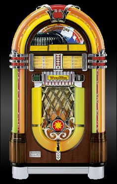 Wurlitzer Jukebox, very flashy--I can remember when they played 78 rpms, a nickel a song, 6 for a quarter.