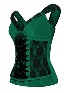 Laced Velvet Crush Green Top - The Violet Vixen