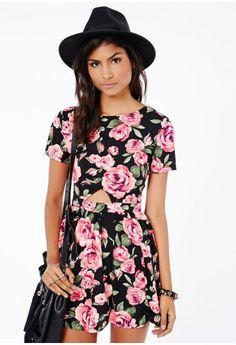 Sachiko Rose Print Skater Dress
