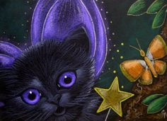 Fairy Kittens | Art: BLACK FAIRY KITTEN CAT - HALLOWEEN BUTTERFLY by Artist Cyra R ...