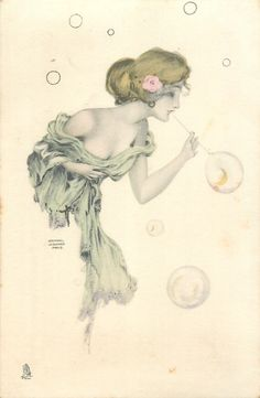 girl blows bubbles, bubbles around her