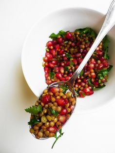 Lentil and pomegranate salad with parsley, cumin and coriander     @Raye Grolemund can we please have dinner dates at both our homes when I get into town xx pinterest inspired meals!