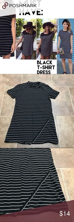 Forever 21 Black Striped T-Shirt Dress Brand: Forever 21 Size: Small Color: Black & white Retail: $24.99 Condition: Great! Has been worn & washed a few times.   ••• Stylish striped tee dress, adorable to wear in all seasons! Wear it with tights in the winter time or with flip flops in the summer! This is a timeless piece and is super cute for a Brandy Melville look! •••  ✨ Check out my closet for more cute items!  I ALWAYS DISCOUNT BUNDLES!  ✨ Forever 21 Dresses Mini