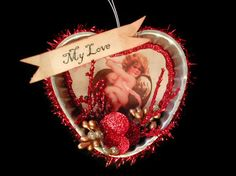 Vintage Tart Tin Heart Ornament  Valentine Ornament  by SkyDawg, $22.00