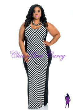 New Plus Size Bodycon Sleeveless Maxi Silhouette Dress with Black and White Stripe Center  available at: http://www.chicandcurvy.com/bodycons/product/9995-new-plus-size-bodycon-sleeveless-maxi-silhouette-dress-with-black-white-stripe-center-1x-2x-3x  Model: Janna Plus Model Photographer: Lesley Pedraza Photography MUA: Make Me Blush - Makeup By Jillian Bianca Hair: Tiffany Brooks