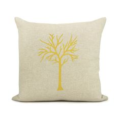 Tree pillow cover, Decorative pillow, Modern home decor - Mustard yellow tree print on natural canvas front and geometric back in 16x16 size via Etsy