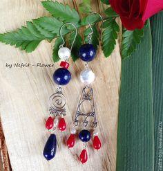 """Купить Серебряные серьги """"Незабываемое Лето"""" - синий, красный, белый, асимметрия, асимметричные серьги"""