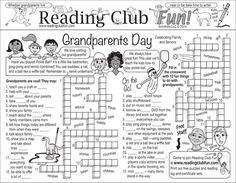 GRANDPARENTS DAY - Teach about fun activities, sports, and family activities we can do with our grandparents with this Two-Page Activity Set!