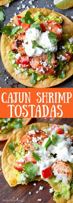 These crunchy Cajun Shrimp Avocado Tostadas are ready in a flash! A perfect family friendly meal! Crab Recipes, Salmon Recipes, Mexican Food Recipes, Healthy Recipes, Shrimp Tostadas, Shrimp Avocado, Healthy Tacos, Cajun Shrimp, Delicious Dinner Recipes