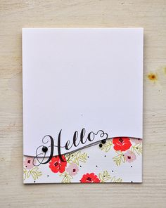 handmade card: Hello Card by Maile Belles for Papertrey Ink (April 2015) .... clean and simple ... curved bottom border with pretty patterned paper behind ...