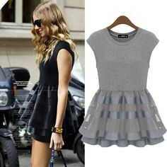 Knitted patchwork organza plus size clothing short skirt summer women's 2013 fashion star style-inDresses from Apparel & Accessories on Alie...