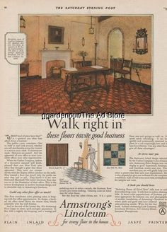 1926 craftex co new york ny armstrong cork co lancaster pa linoleum flooring ad