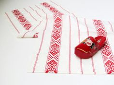 Vintage Swedish Tablecloth, Ethnic Table Runner, White and Red Table Cloth, Scandinavian Home Decor by LittleRetronome, $14.00