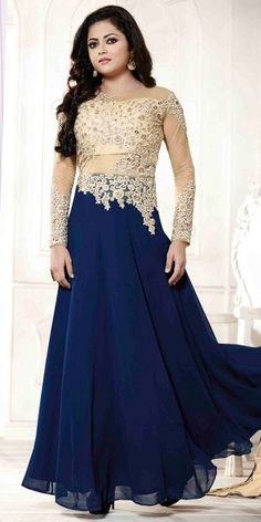 Pretty Navy Blue And Cream Georgette Designer Anarkali Suit With Dupatta