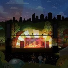Folk Music Festival - Mainstage, Edmonton Landmark art print, home decor  Edmonton landmark art print with a unique Mid-Century / Folk Art take. A perfect Edmonton gift idea for any city lover or that poor soul that is leaving town. Purchase on www.snowalligator.com  Illustration by local artist Jason Blower  #yeg #yegart #yegwallart #wallart #EdmontonArt #edmontongift #yeggift #snow_aligator #charmingart #cuteart #midCentury #Folkart #cuteart #charmingart #edmontonartist
