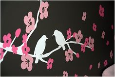 Nursery Tree on Pink And Dark Gray Baby Girl Nursery With Birds And Butterflies   Baby