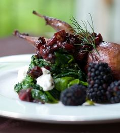 Blackberry and Balsamic Roasted Quail Recipe - Saveur.com  (Marinade would be good for chicken thighs or breasts.)