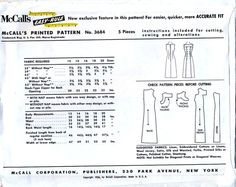 McCall's 3684 Sewing Pattern for Vintage 50s by retrowithlana