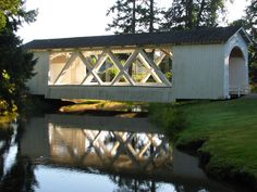 Covered bridge Stayton, OR - love the looks of this one.  I've never seen one built quite like this one.