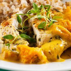 Täytetyt broilerinleikkeet ja appelsiinikastike | Yhteishyvä Risotto, Curry, Food And Drink, Meat, Chicken, Dinner, Ethnic Recipes, Koti, Drinks
