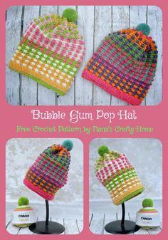 Bubble Gum POP Hat pattern featuring Caron Cupcakes