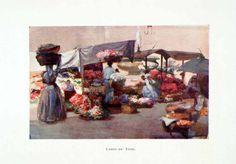 1904 Color Print Campo Fiori Flower Field Rome Italy Market Aubrey XGAB2 | eBay