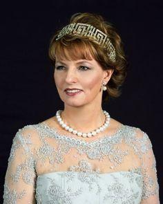 Crown Princess Margareta wearing the Greek Key Tiara, Romania (early 20th c.; diamonds).