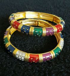 2 Joan Rivers Stretch Bracelets  Mulit Color  S1924