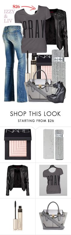 """""""PRAY Tee"""" by linseygreen ❤ liked on Polyvore featuring moda, NARS Cosmetics, Paris Hilton, Boohoo, GUESS, By Terry, River Island e Max Azria"""