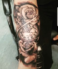 Rose and pocket watch tattoo ~ Ryan Davis