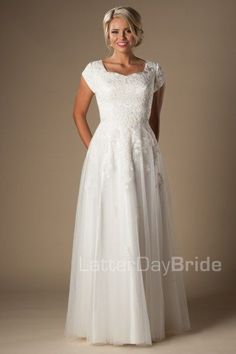 cheap modest wedding dresses, the Evelyn with lace at LatterDayBride