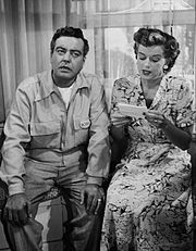 JACKIE Gleason and Rosemary DeCamp as Chester and Peg Riley. THE LIFE OF RILEY 1949