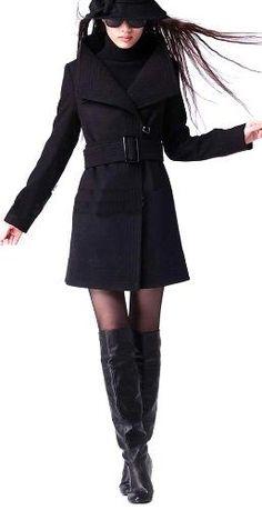 LANHUACAO Wool Blends Winter Coat Outwear Womens