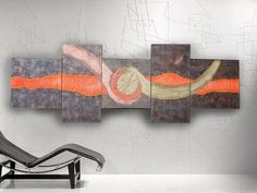 https://www.artfinder.com/ksaveraart #ABSTRACT #PAINTINGS 80x240x4 cm rusty iron hot orange LARGE paintings  #OFFICE #decor #original #abstractart #art big ready to hang #painting #acrylic on stretched #canvas metallic textured glossy wall art by #artist Ksavera