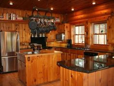 Warm kitchen in a full log retreat, Eagle River, WI Knotty Pine Cabinets, Knotty Pine Kitchen, Pine Kitchen Cabinets, Kitchen Redo, Rustic Kitchen, Kitchen Remodel, Kitchen Design, Warm Kitchen, Log Cabin Living