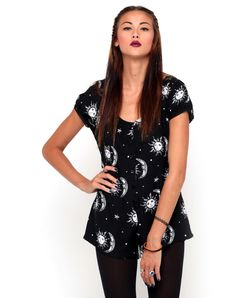 Motel Trudie Button Up Playsuit in Sun Moon Stars Print, TopShop, ASOS, House of Fraser, Nasty gal