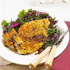 I LOVE delicious, quick and easy meals. Going to try this one real soon! Breaded Pork with Cabbage & Kale