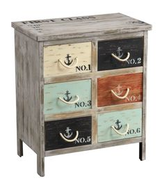 Coast To Coast Accent Chest 46293 - Coast To Coast Accent Chest 46293This chest is chock full of nautical appeal. The base has straight lines and is finished in a distressed Bayview Grey, and is full of aged character. Each of the six deep drawers sport a bright nautical hue, stamped decals and rope handles. The top also bears freight-inspired stamps.Sku: 46293Manufacturer: Coast To CoastProduct Dimensions: 24.5W x 15D x 28.75HPackage Dimensions: 27W x 17.25D x 31.75HCubic Feet: 8.56Gross…