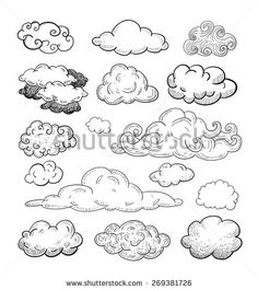 Doodle Collection Of Hand Drawn Vector Clouds - 269381726 : Shutterstock