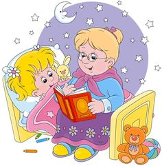 Grandmother reading aloud a book of fairy tales to her granddaughter lying in her bed School Clipart, Kids Pages, Bedtime Stories, Read Aloud, Cute Illustration, Stars And Moon, Nursery Rhymes, Cartoon Characters, Fairy Tales