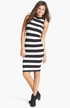 Soprano Stripe Mock Neck Body-Con Dress (Juniors) available at #Nordstrom