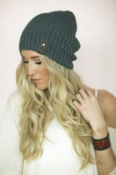 Beanie with Leather Accent $10