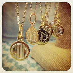 Gold and Rose Gold Monogram Flutter Disc Necklaces