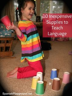 10 Inexpensive Supplies to Teach Language  Use these inexpensive materials as you raise a bilingual child or teach language to a class.   http://spanishplayground.net/10-inexpensive-supplies-to-teach-language/