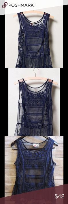 """NEW LILKA Small Navy CYPRESS Embroidered Lace Top **NO Trades Please** BRAND NEW...Never Washed/Worn (still has plastic tag holder attached)... but Price Tag was removed!  """"Cypress Lace Tank"""" Blouse ~ Round Neckline ~Solid Navy ~ Entire Top is a SHEER... with GORGEOUS Embroidery Work on the Front ~Some Lace/Mesh Panels Have Polka-Dot Design...Including Rufflearound Bottom ~ GORGEOUS Delicate Feminine Blouse... will Need a Cami Underneath as it is Sheer  Fabric:  100% Nylon Lace…"""