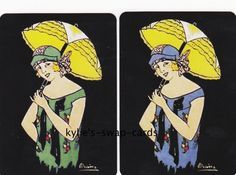 A34 LOVELY LADIES swap playing cards MINT COND Art Deco style parasol SMOOTH