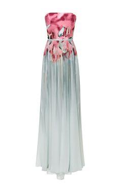 Floral Aqua Printed Strapless Gown by Elie Saab - Moda Operandi
