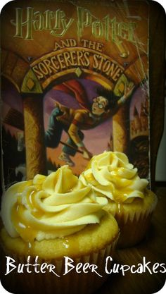 I made butter beer cupcakes! Thanks Pinterest!
